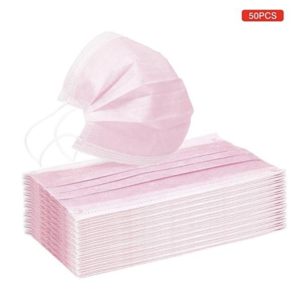 Roze wegwerp maskers